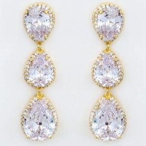 Gold Triple Teardrop Statement Earrings, CZ